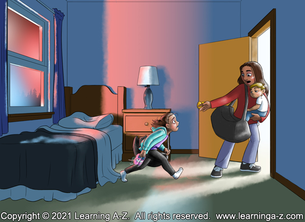 An illustration for page 5 of The Neighborhood's Night by Juliana Catherine.  A girl runs across her bedroom to the doorway where her mother and little brother wait for her.  They are about to evacuate the house.  The room is lit by emergency lights from the window and white light from the hallway.