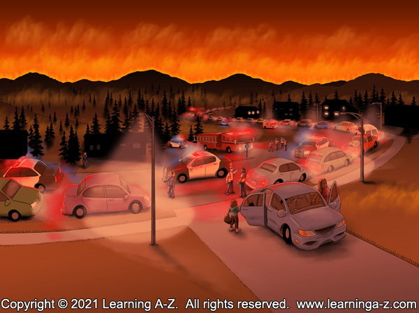 An illustration for page 6 of The Neighborhood's Night by Juliana Catherine.  This is an image of a neighborhood evacuating due to encroaching wildfires.
