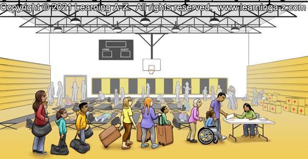 An illustration of page 8 of The Neighborhood's Night.  The scene is a school gymnasium set up as an emergency shelter with a crowd of people around cots set up on the floor.  Three displaced families stand in line in the foreground.  A woman at a table seems to be handling sign-ins.