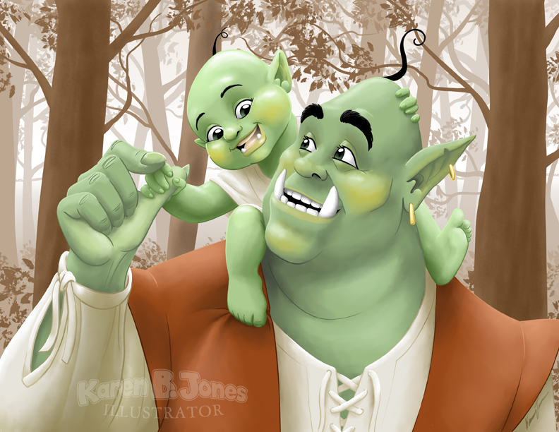 A candid portrait of an orc father and his toddler offspring.  The child is on the father's shoulders, holding onto his thumb.  The background is a monochromatic forest scent.