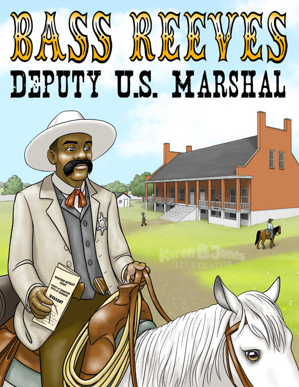 An illustration of Deputy US Marshal Bass Reeves riding out of Fort Smith, Arkansas with a warrant in hand.  Bass Reeves was the first black Deputy US Marshal west of the Mississippi.