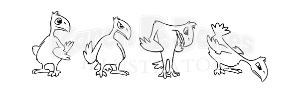 A sketch of 4 poses of a cartoon bird.