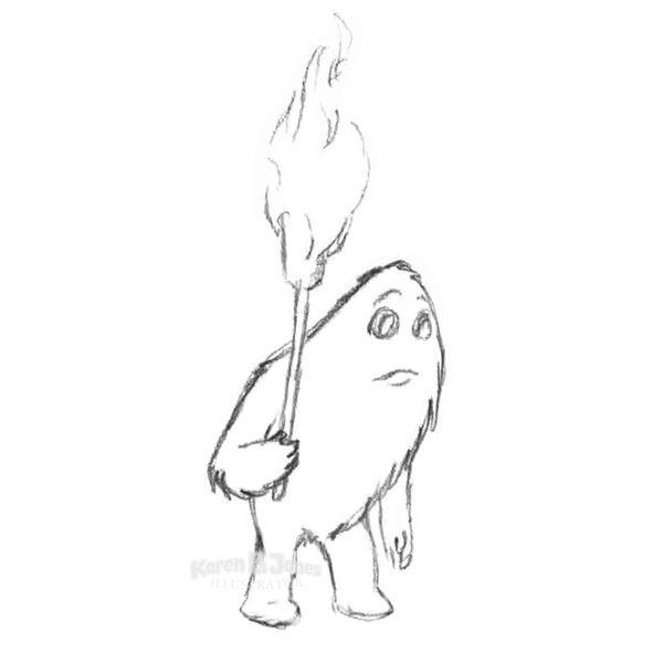 A pencil sketch of a furry monster holding a torch.