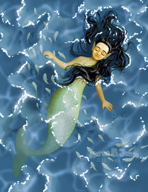 A mermaid floats in water with only her face above the surface.  Under her, a school of fish swims by.