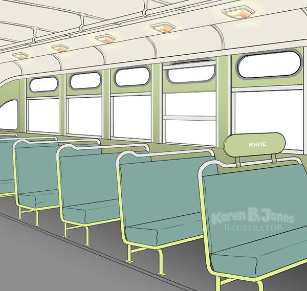A work in progress illustration of the interior of a Montgomery, AL bus, CIRCA 1955.