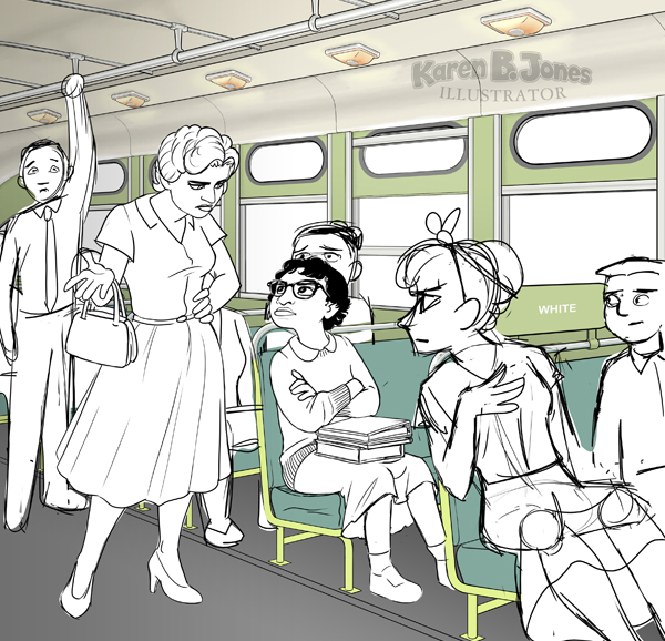 A work in progress illustration of Claudette Colvin refusing to yield her seat on a Montgomery Alabama bus in 1955.  The interior of the bus is mostly complete, but the characters are only sketches on white backgrounds.
