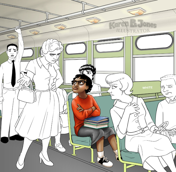A work in progress image.  It is to be an illustration of Claudette Colvin's refusal to yield her seat to a white woman in Montgomery, AL.  The scene shows the interior of a segregated bus with Miss Colvin seated and defiant in her spot and the other passengers reacting to her according to their role in the event.  The colors and shading are done on Miss Colvin, but the other characters have final lines, but no colors or shading.