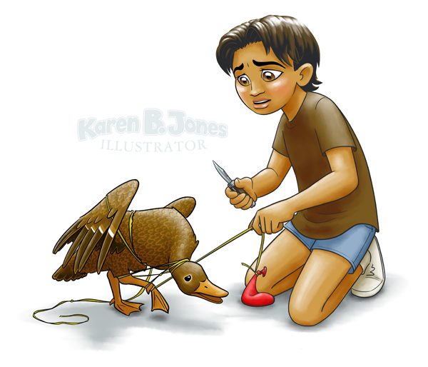 A girl kneels, preparing to cut a tangled balloon string off of a trapped duck with a pocket knife.